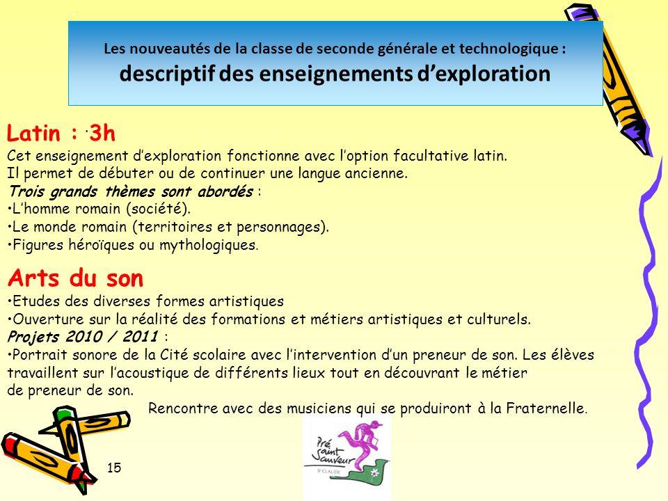 15 Les nouveautés de la classe de seconde générale et technologique : descriptif des enseignements dexploration.
