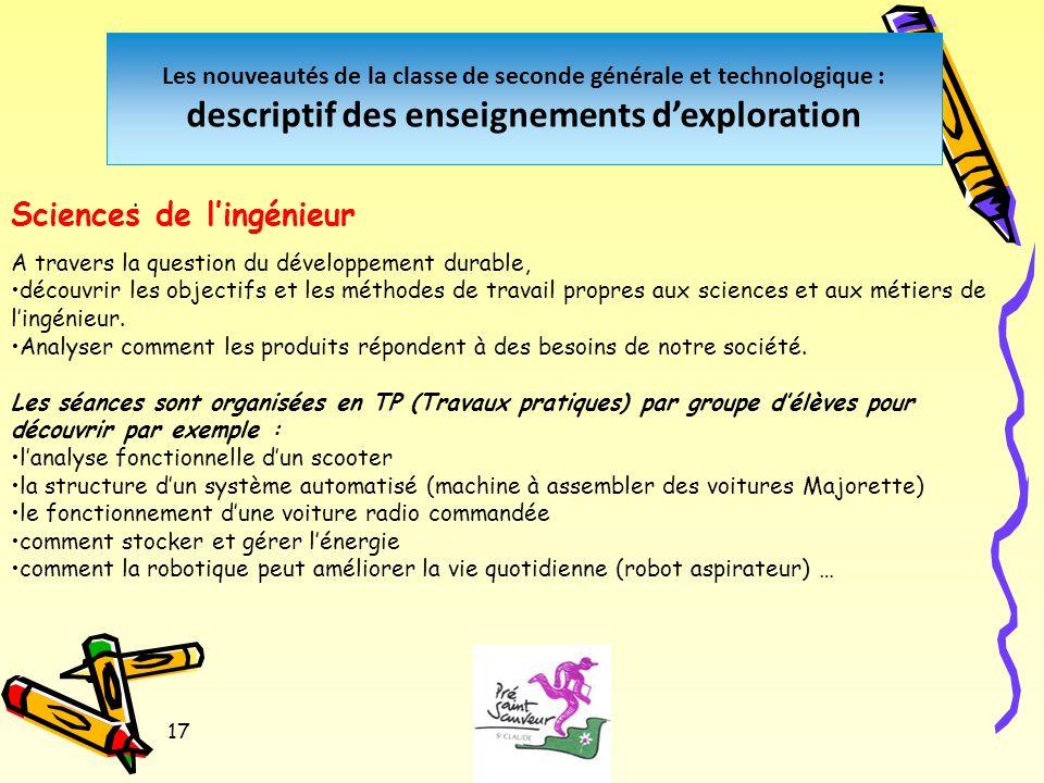 17 Les nouveautés de la classe de seconde générale et technologique : descriptif des enseignements dexploration.