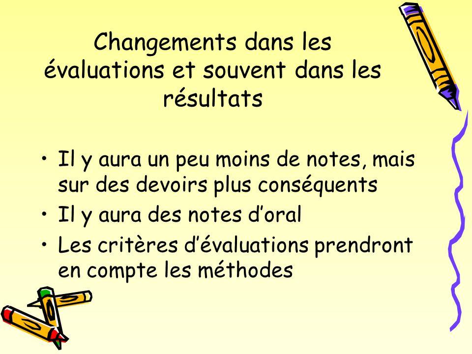 Changements dans les évaluations et souvent dans les résultats Il y aura un peu moins de notes, mais sur des devoirs plus conséquents Il y aura des notes doral Les critères dévaluations prendront en compte les méthodes
