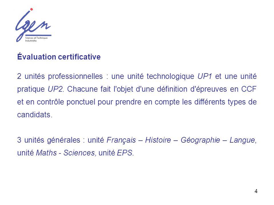 4 Évaluation certificative 2 unités professionnelles : une unité technologique UP1 et une unité pratique UP2. Chacune fait l'objet d'une définition d'