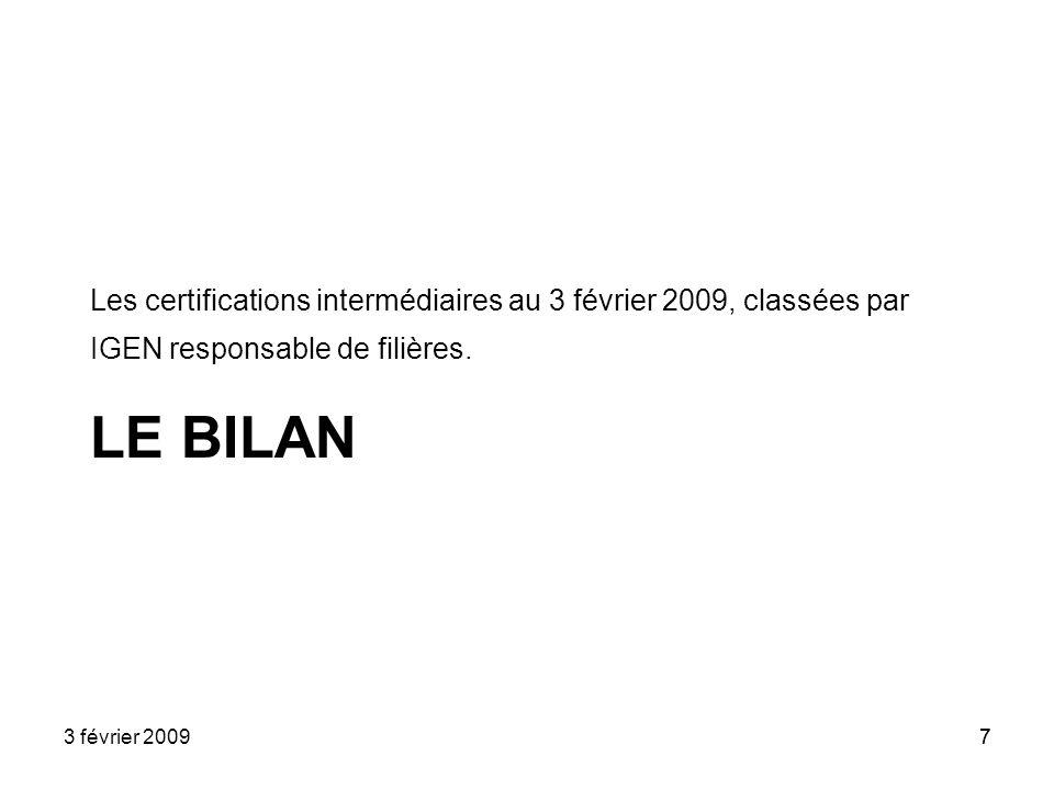 7 LE BILAN Les certifications intermédiaires au 3 février 2009, classées par IGEN responsable de filières. 3 février 20097
