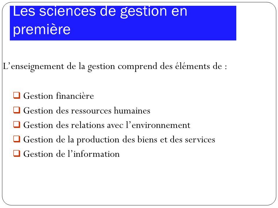 Les sciences de gestion en première Lenseignement de la gestion comprend des éléments de : Gestion financière Gestion des ressources humaines Gestion