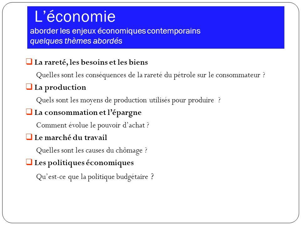 Léconomie aborder les enjeux économiques contemporains quelques thèmes abordés La rareté, les besoins et les biens Quelles sont les conséquences de la