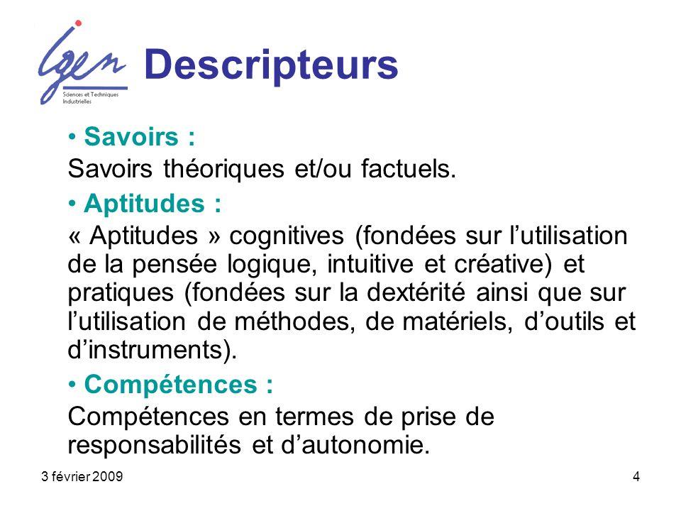 3 février 20094 Descripteurs Savoirs : Savoirs théoriques et/ou factuels. Aptitudes : « Aptitudes » cognitives (fondées sur lutilisation de la pensée