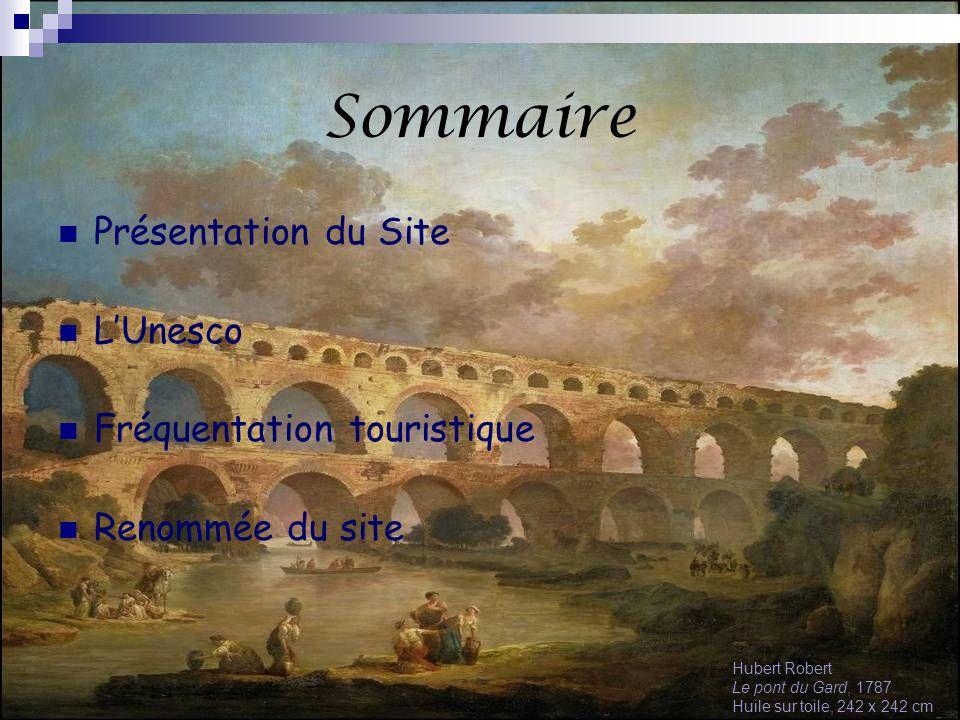 Sommaire Présentation du Site LUnesco Fréquentation touristique Renommée du site Hubert Robert Le pont du Gard, 1787. Huile sur toile, 242 x 242 cm