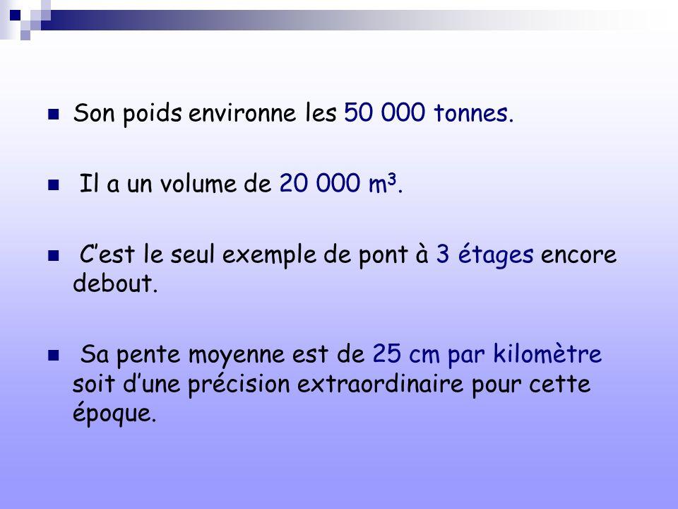 Son poids environne les 50 000 tonnes. Il a un volume de 20 000 m 3. Cest le seul exemple de pont à 3 étages encore debout. Sa pente moyenne est de 25