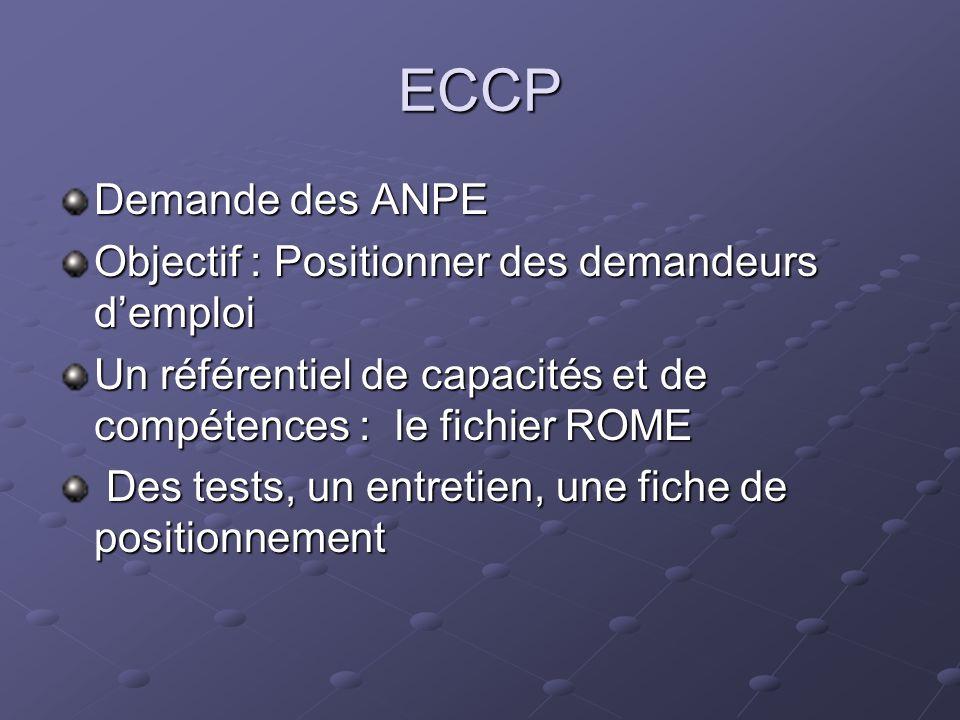 ECCP Demande des ANPE Objectif : Positionner des demandeurs demploi Un référentiel de capacités et de compétences : le fichier ROME Des tests, un entr