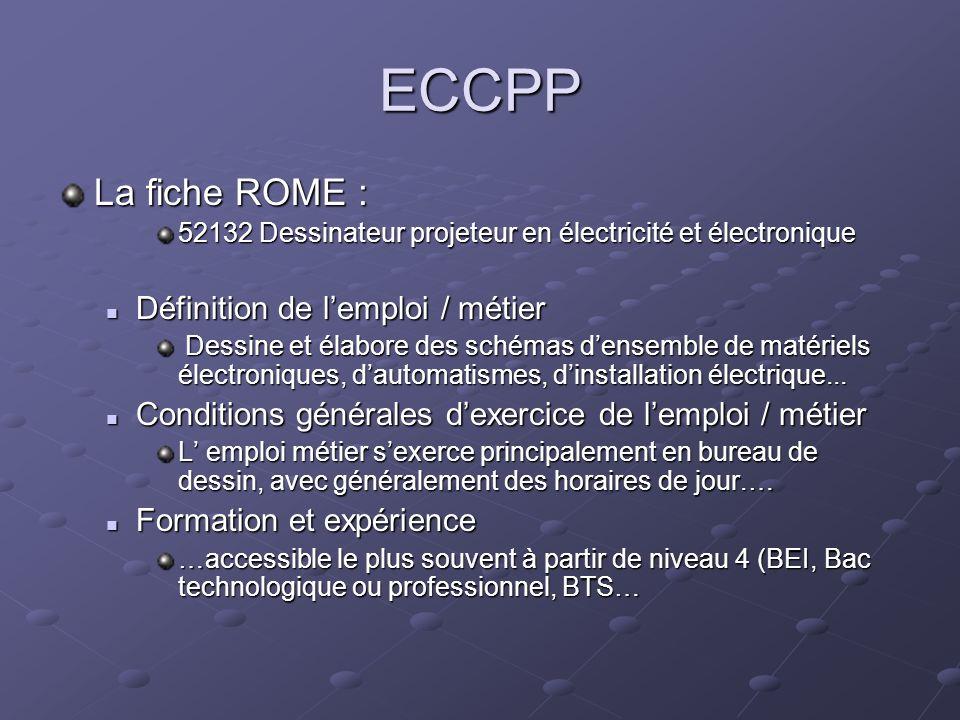 ECCPP La fiche ROME : 52132 Dessinateur projeteur en électricité et électronique Les compétences techniques de base Les compétences techniques de base Répartir et coordonner les plans et schémas densemble ou de détail auprès des dessinateurs...