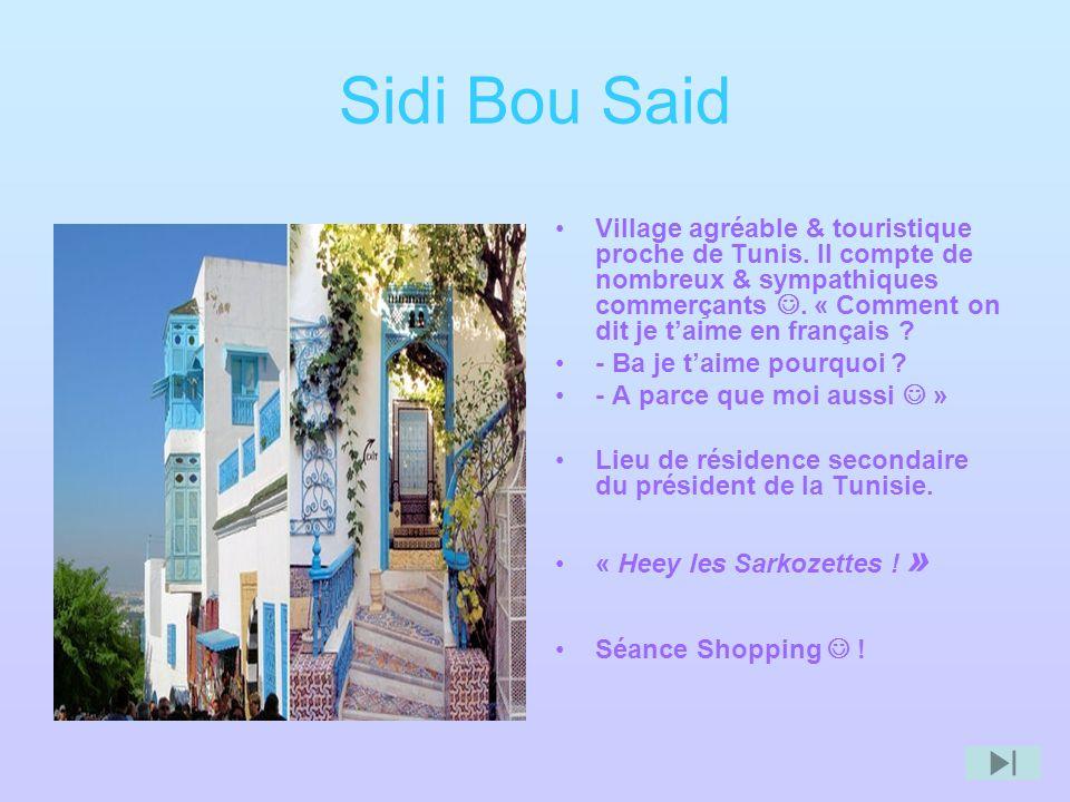 Sidi Bou Said Village agréable & touristique proche de Tunis. Il compte de nombreux & sympathiques commerçants. « Comment on dit je taime en français
