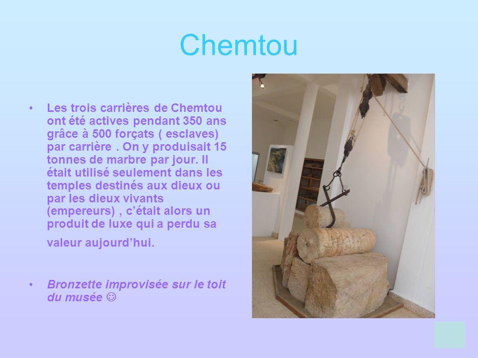 Chemtou Les trois carrières de Chemtou ont été actives pendant 350 ans grâce à 500 forçats ( esclaves) par carrière. On y produisait 15 tonnes de marb