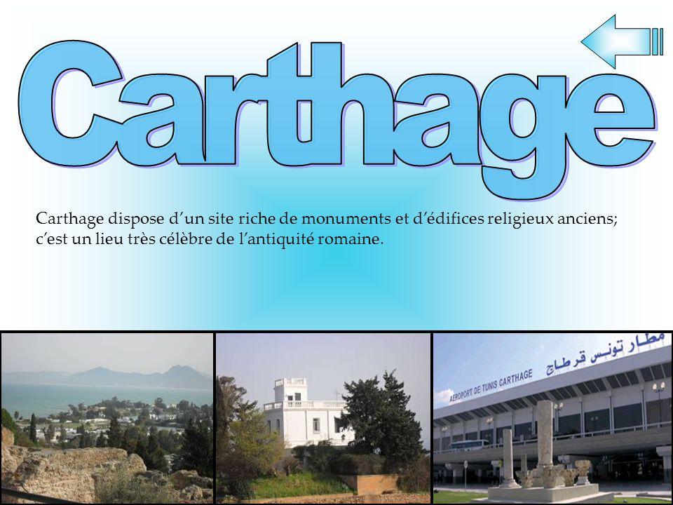 Carthage dispose dun site riche de monuments et dédifices religieux anciens; cest un lieu très célèbre de lantiquité romaine.