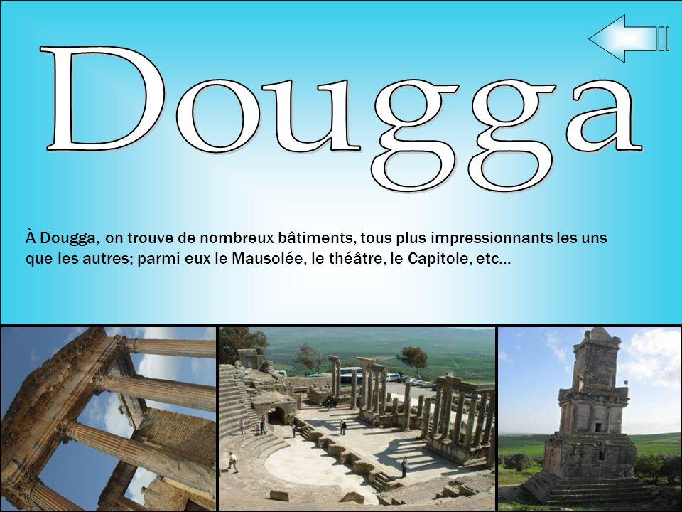 À Dougga, on trouve de nombreux bâtiments, tous plus impressionnants les uns que les autres; parmi eux le Mausolée, le théâtre, le Capitole, etc…