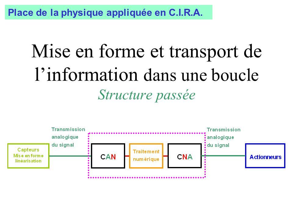Mise en forme et transport de linformation dans une boucle Structure passée Place de la physique appliquée en C.I.R.A.