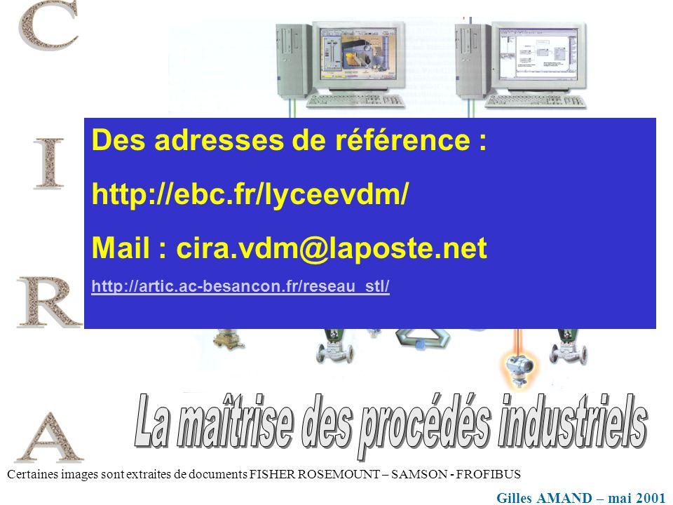 Certaines images sont extraites de documents FISHER ROSEMOUNT – SAMSON - FROFIBUS Gilles AMAND – mai 2001 Des adresses de référence : http://ebc.fr/ly