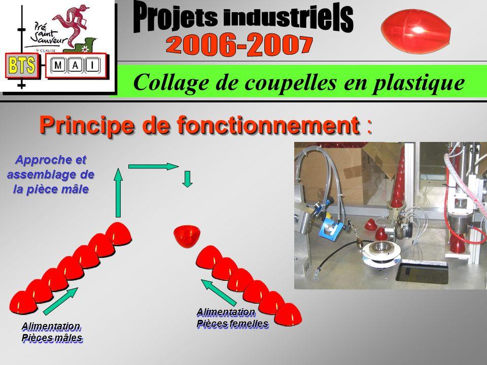 Collage de coupelles en plastique Principe de fonctionnement Principe de fonctionnement : Alimentation Pièces femelles Alimentation Pièces mâles Approche et assemblage de la pièce mâle