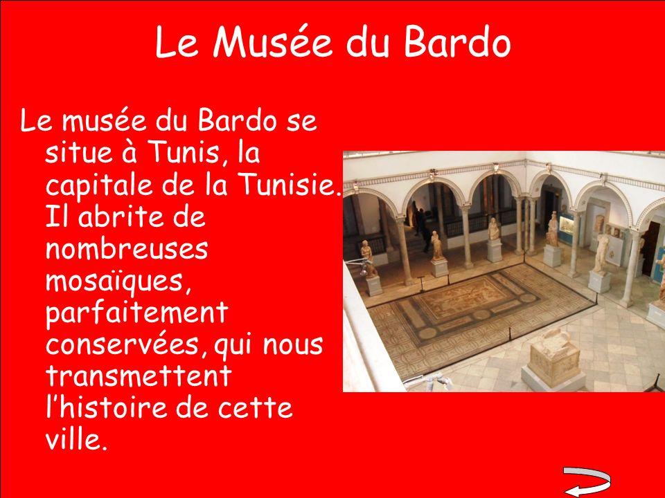 Le Musée du Bardo Le musée du Bardo se situe à Tunis, la capitale de la Tunisie. Il abrite de nombreuses mosaïques, parfaitement conservées, qui nous