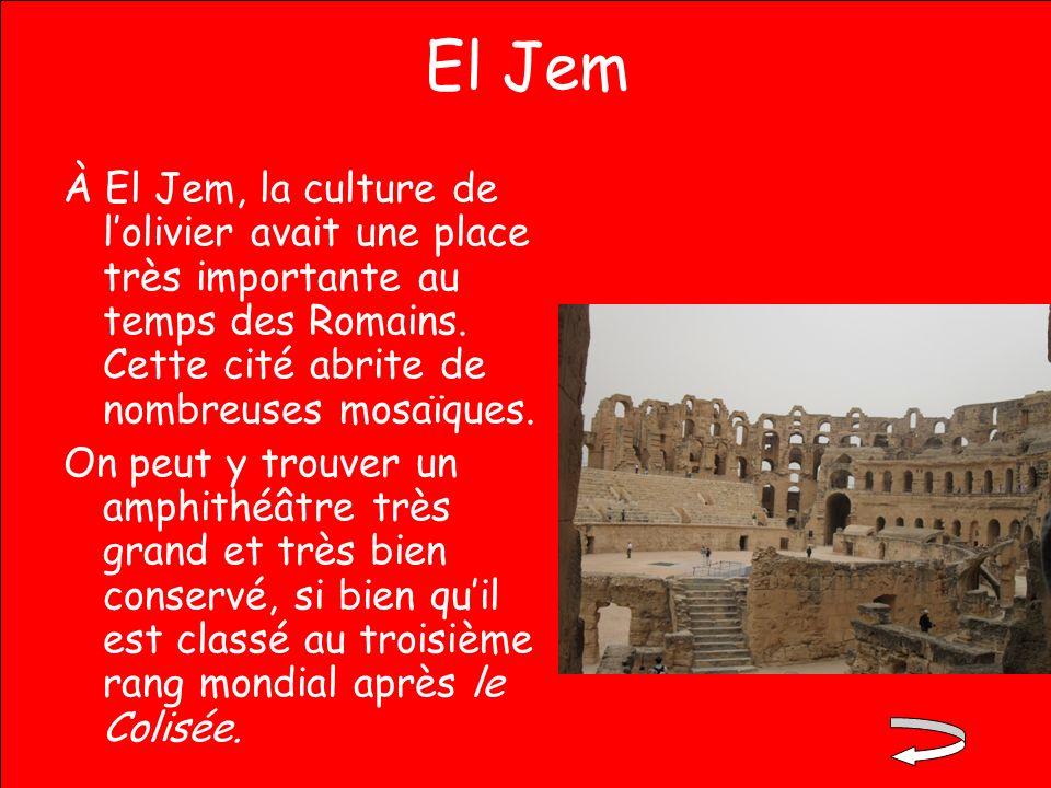 El Jem À El Jem, la culture de lolivier avait une place très importante au temps des Romains. Cette cité abrite de nombreuses mosaïques. On peut y tro