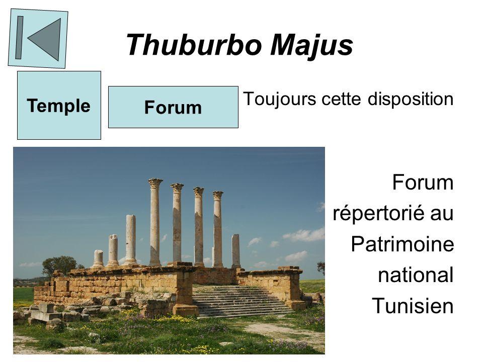 Dougga Ancien nom : Thugga La politique romaine : - émerveiller - surveiller Seule ville où le forum est à côté du temple et non en face Le Mausolée (Différentes cultures présentes dans sa construction ) Temple Forum Normal- ement Forum