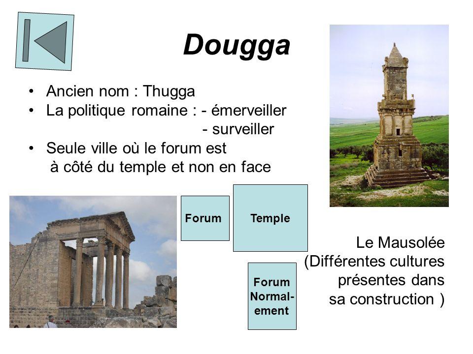 Bulla Regia Maisons souterraines car il fait extrêmement chaud dehors Architecture afro-romaine Monuments publics :- Thermes - Petit théâtre Mosaïque polychrome