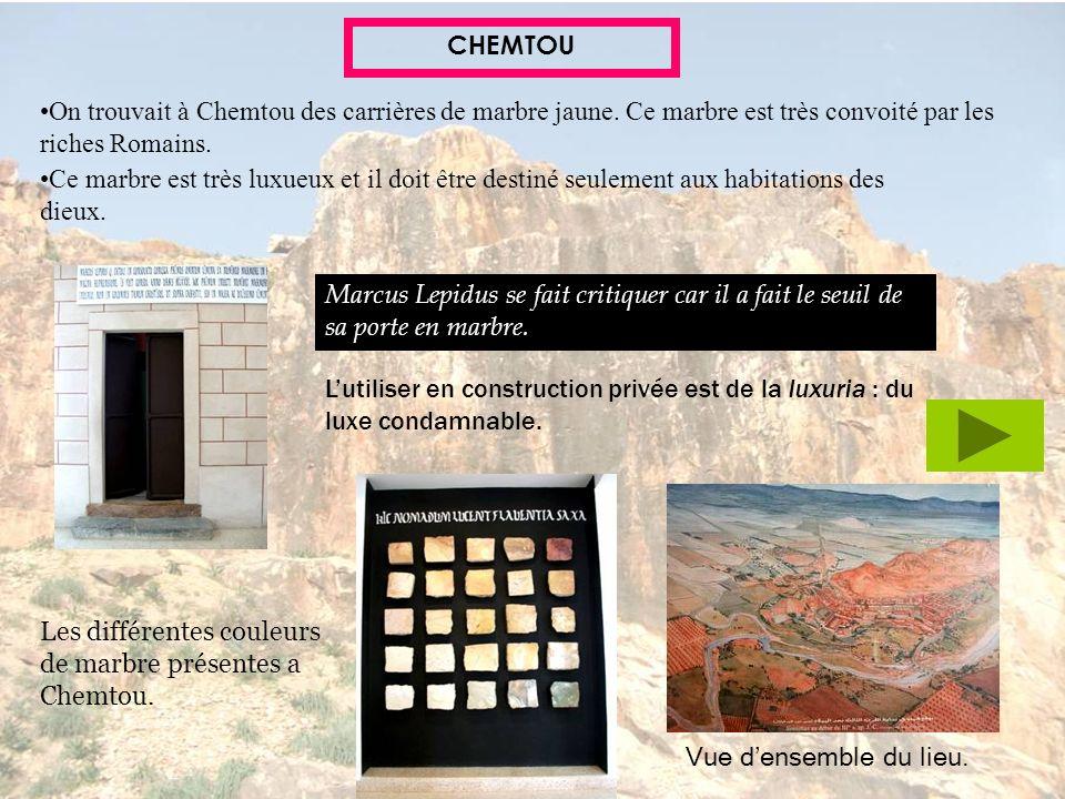 CHEMTOU On trouvait à Chemtou des carrières de marbre jaune. Ce marbre est très convoité par les riches Romains. Ce marbre est très luxueux et il doit