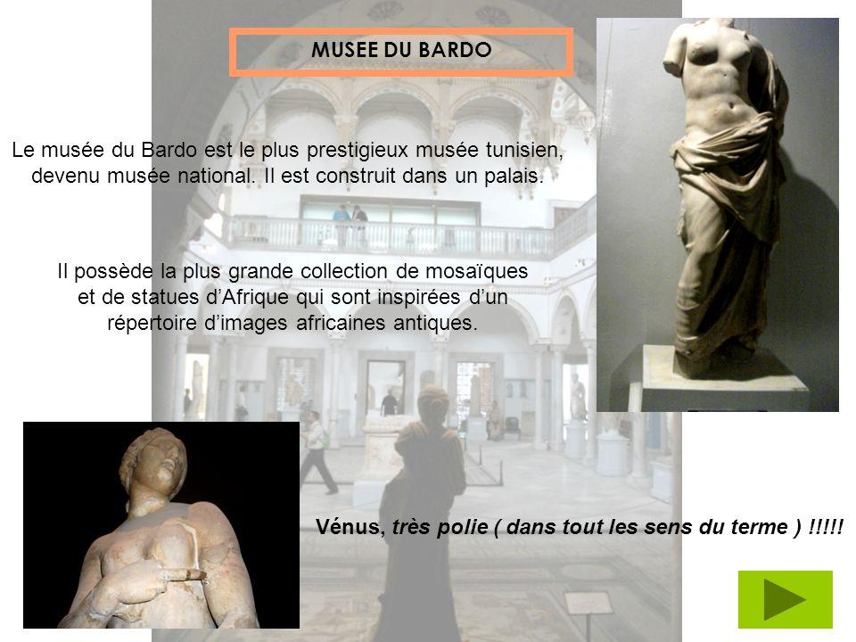 Le musée du Bardo est le plus prestigieux musée tunisien, devenu musée national. Il est construit dans un palais. MUSEE DU BARDO Il possède la plus gr
