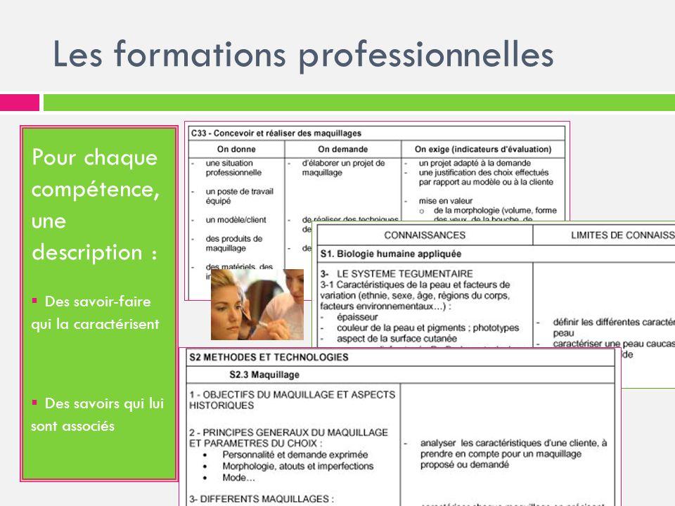 Les formations professionnelles Pour chaque compétence, une description : Des savoir-faire qui la caractérisent Des savoirs qui lui sont associés