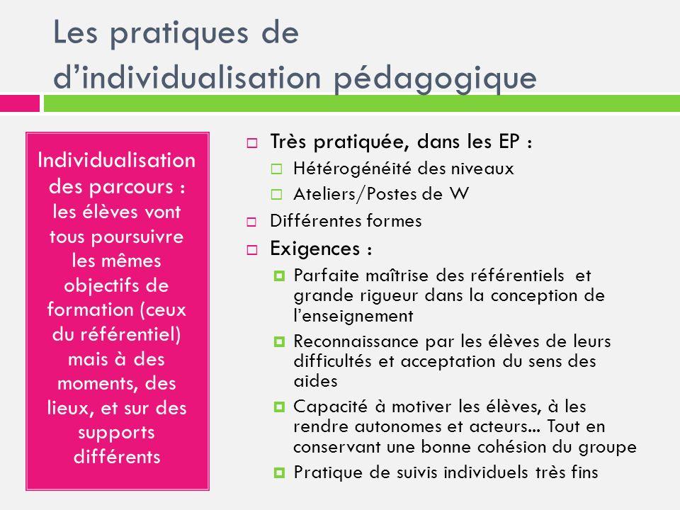 Les pratiques de dindividualisation pédagogique Individualisation des parcours : les élèves vont tous poursuivre les mêmes objectifs de formation (ceu