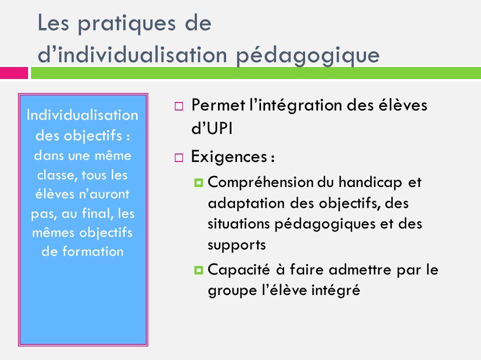 Les pratiques de dindividualisation pédagogique Individualisation des objectifs : dans une même classe, tous les élèves nauront pas, au final, les mêm