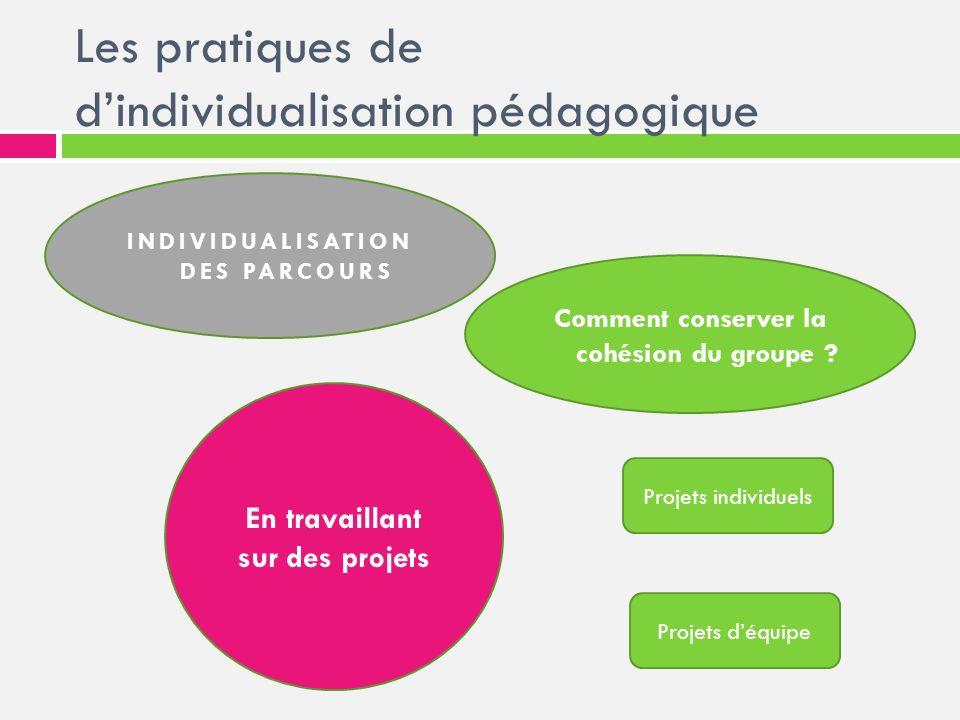 Les pratiques de dindividualisation pédagogique INDIVIDUALISATION DES PARCOURS Comment conserver la cohésion du groupe ? En travaillant sur des projet