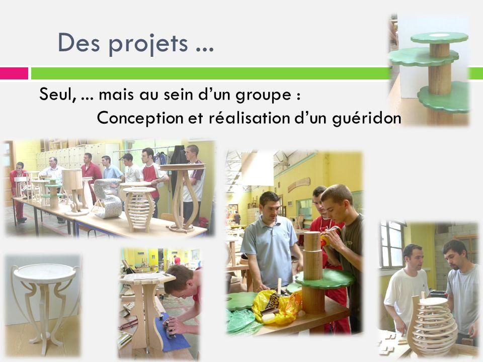 Des projets... Seul,... mais au sein dun groupe : Conception et réalisation dun guéridon
