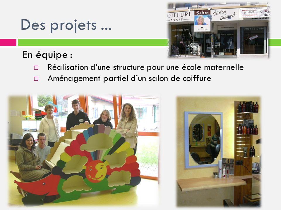 En équipe : Réalisation dune structure pour une école maternelle Aménagement partiel dun salon de coiffure Des projets...