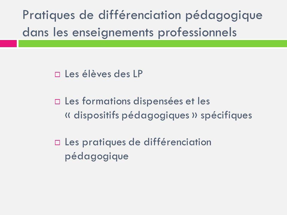 Pratiques de différenciation pédagogique dans les enseignements professionnels Les élèves des LP Les formations dispensées et les « dispositifs pédago