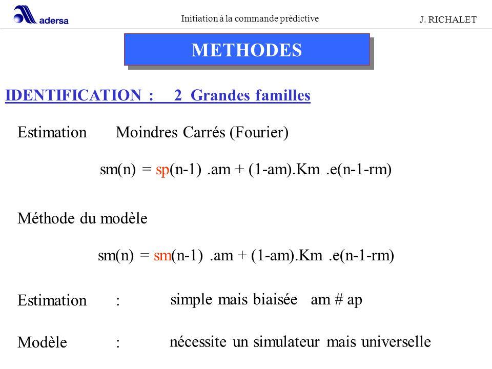 Initiation à la commande prédictive J. RICHALET METHODES IDENTIFICATION : 2 Grandes familles EstimationMoindres Carrés (Fourier) sm(n) = sp(n-1).am +