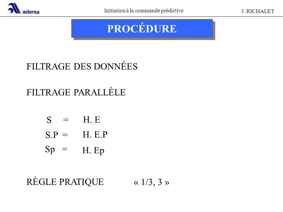 Initiation à la commande prédictive J. RICHALET PROCÉDURE FILTRAGE DES DONNÉES FILTRAGE PARALLÈLE S = RÈGLE PRATIQUE H. E H. E.P H. Ep S.P = Sp = « 1/