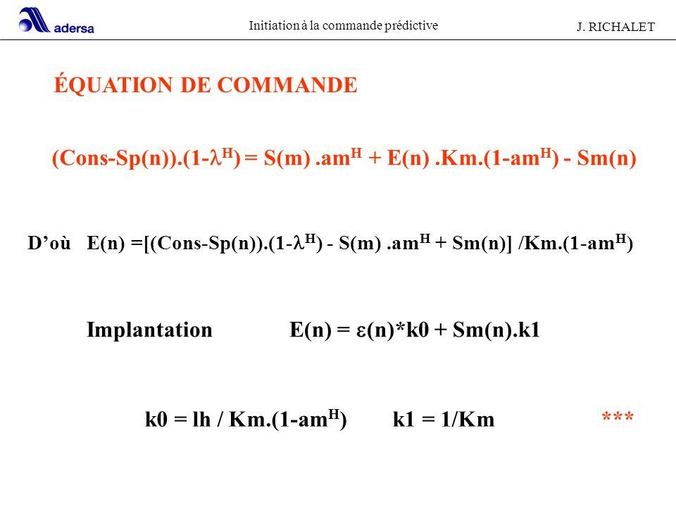 Initiation à la commande prédictive J. RICHALET (Cons-Sp(n)).(1- H ) = S(m).am H + E(n).Km.(1-am H ) - Sm(n) Doù E(n) =[(Cons-Sp(n)).(1- H ) - S(m).am
