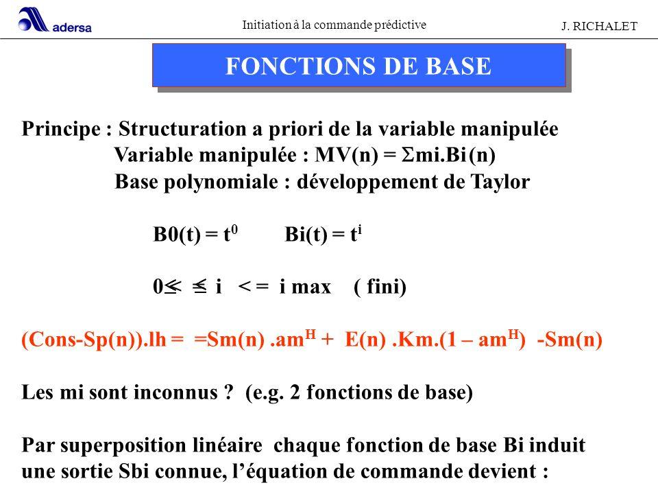 Initiation à la commande prédictive J. RICHALET FONCTIONS DE BASE Principe : Structuration a priori de la variable manipulée Variable manipulée : MV(n