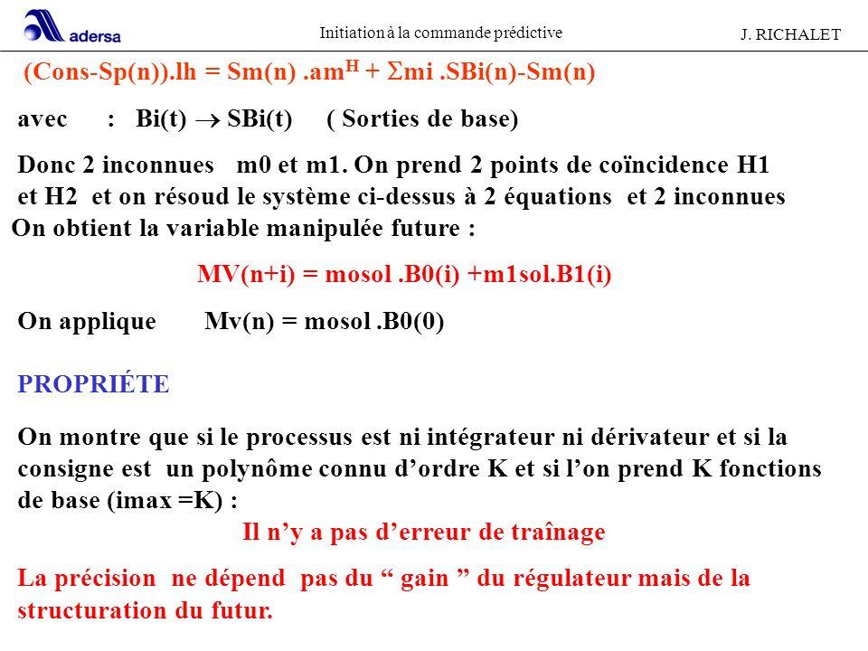Initiation à la commande prédictive J. RICHALET (Cons-Sp(n)).lh = Sm(n).am H + mi.SBi(n)-Sm(n) avec : Bi(t) SBi(t) ( Sorties de base) Donc 2 inconnues