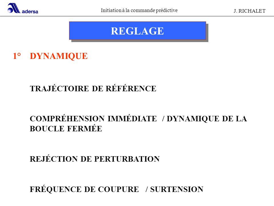 Initiation à la commande prédictive J. RICHALET REGLAGE 1° DYNAMIQUE TRAJÉCTOIRE DE RÉFÉRENCE COMPRÉHENSION IMMÉDIATE / DYNAMIQUE DE LA BOUCLE FERMÉE