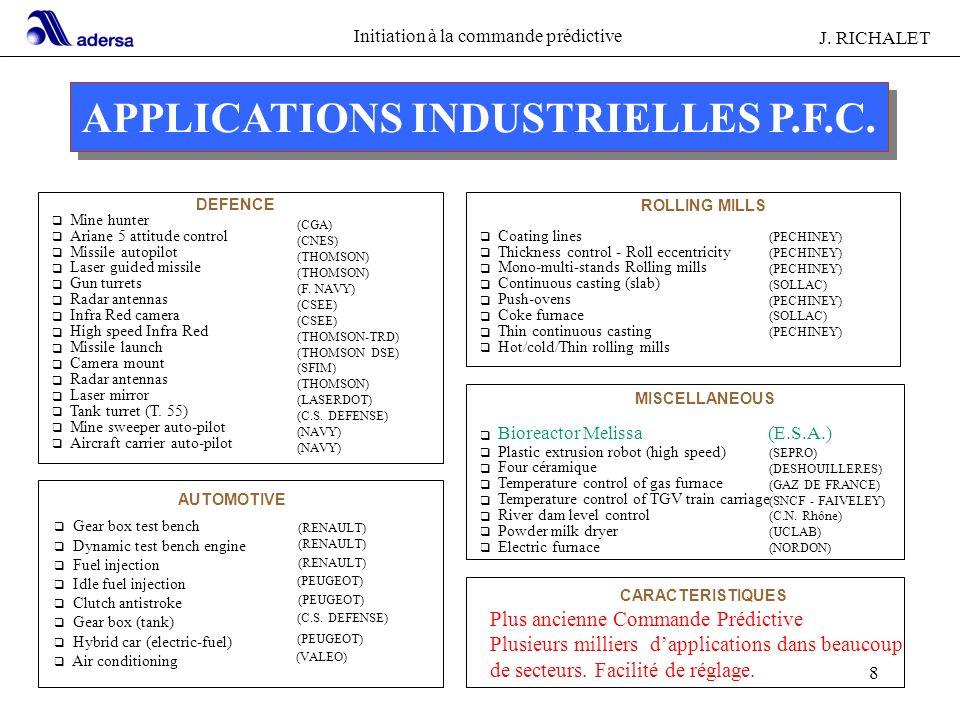 Initiation à la commande prédictive J. RICHALET 8 APPLICATIONS INDUSTRIELLES P.F.C. DEFENCE q Mine hunter q Ariane 5 attitude control q Missile autopi