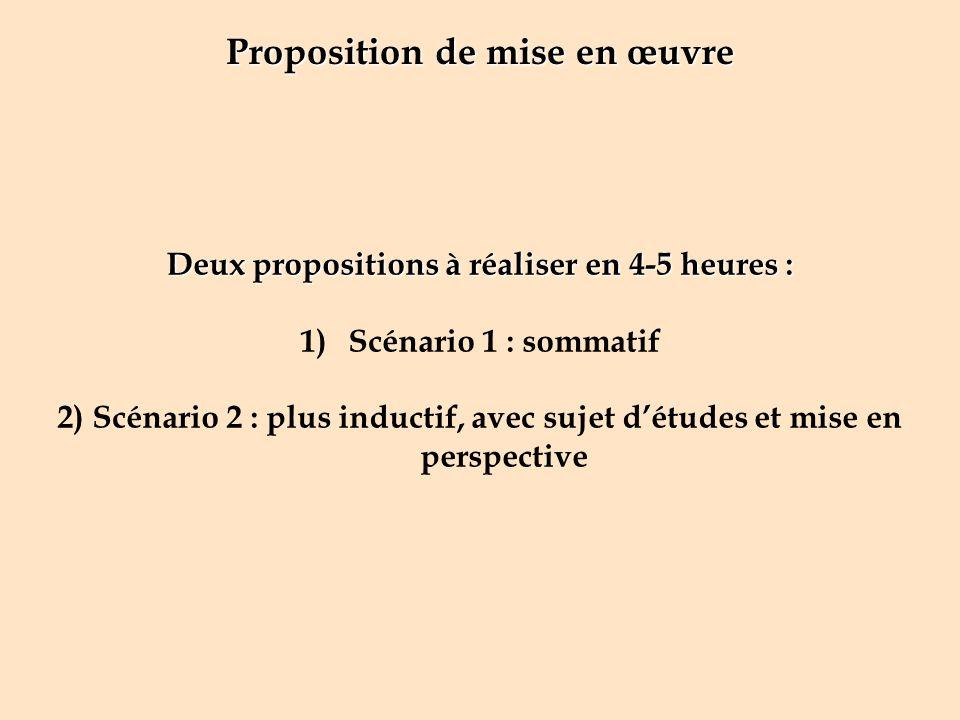 Proposition de mise en œuvre Deux propositions à réaliser en 4-5 heures : 1)Scénario 1 : sommatif 2) Scénario 2 : plus inductif, avec sujet détudes et