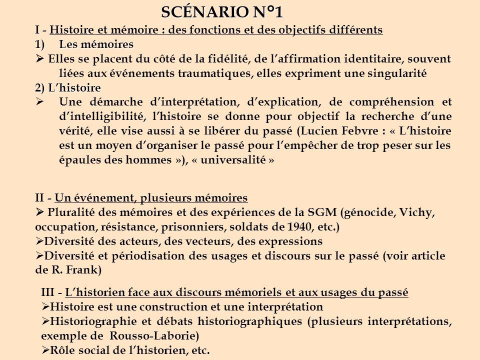 I - Histoire et mémoire : des fonctions et des objectifs différents 1)Les mémoires Elles se placent du côté de la fidélité, de laffirmation identitair