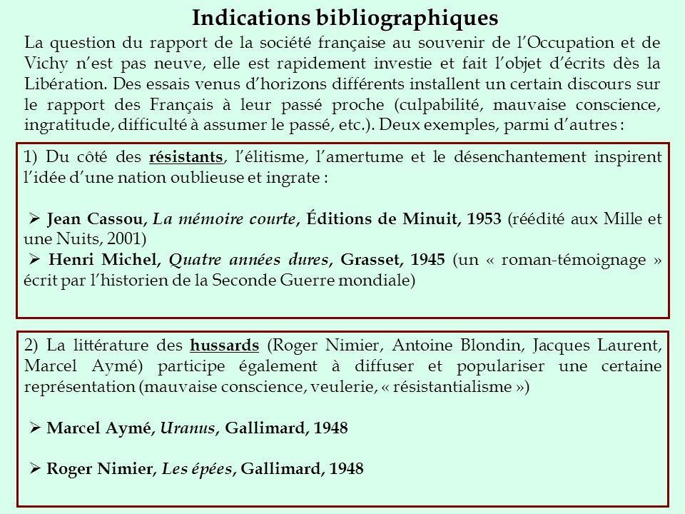 Indications bibliographiques La question du rapport de la société française au souvenir de lOccupation et de Vichy nest pas neuve, elle est rapidement investie et fait lobjet décrits dès la Libération.