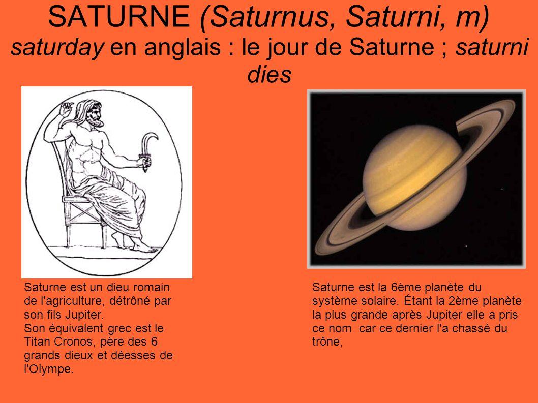 SATURNE (Saturnus, Saturni, m) saturday en anglais : le jour de Saturne ; saturni dies Saturne est la 6ème planète du système solaire. Étant la 2ème p