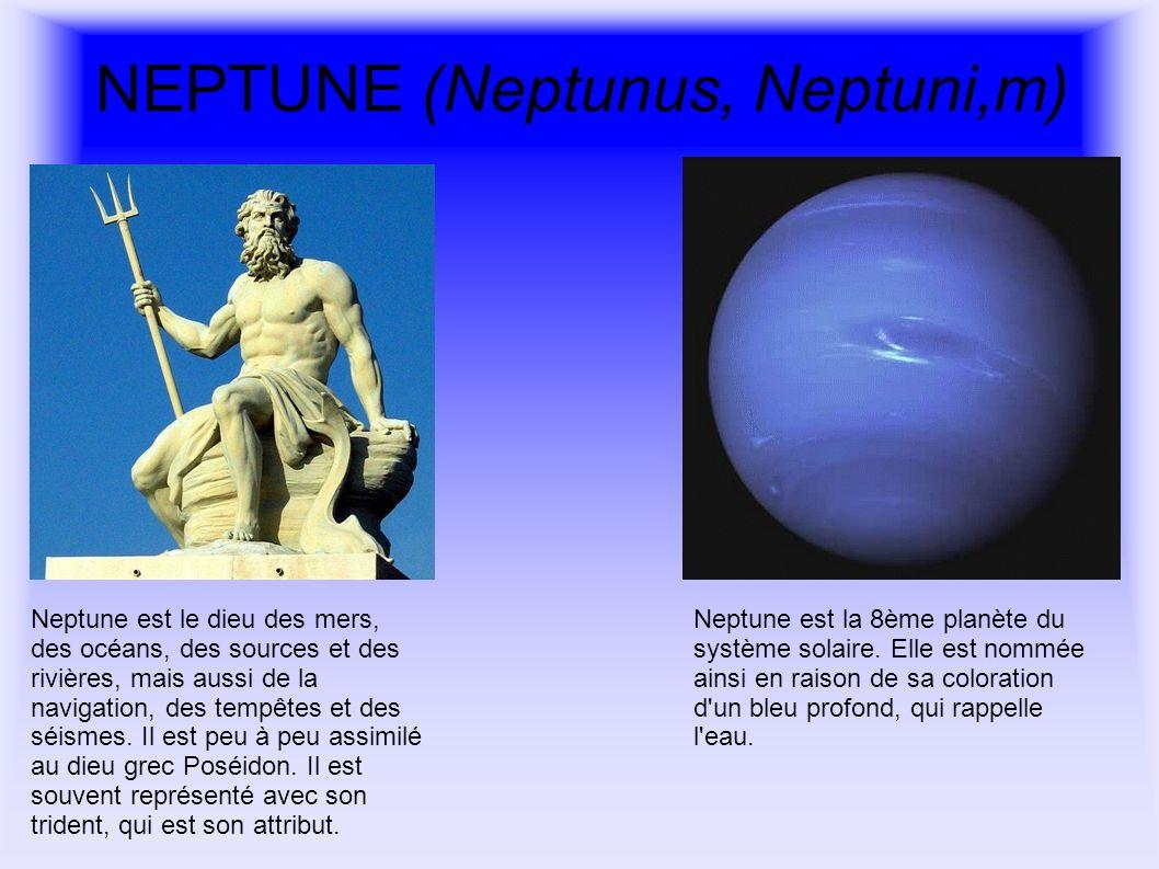 NEPTUNE (Neptunus, Neptuni,m) Neptune est le dieu des mers, des océans, des sources et des rivières, mais aussi de la navigation, des tempêtes et des