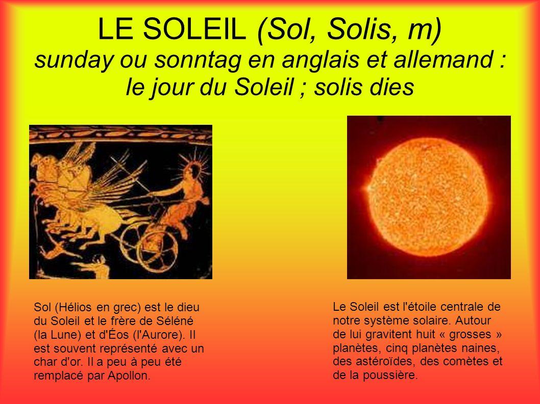 LE SOLEIL (Sol, Solis, m) sunday ou sonntag en anglais et allemand : le jour du Soleil ; solis dies Le Soleil est l'étoile centrale de notre système s
