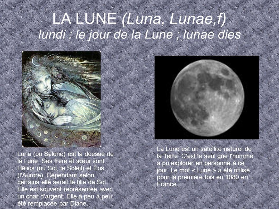 LA LUNE (Luna, Lunae,f) lundi : le jour de la Lune ; lunae dies La Lune est un satellite naturel de la Terre. C'est le seul que l'homme a pu explorer