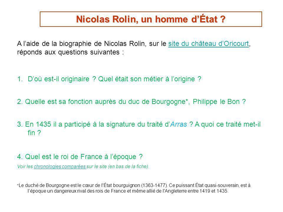 Contexte historique et géographique principales possessions de Nicolas Rolin, Carte de Marie-Thérèse Berthier et John-Thomas Swweeney, 1998, sur le site Oricourt.comsite Oricourt.com 5.