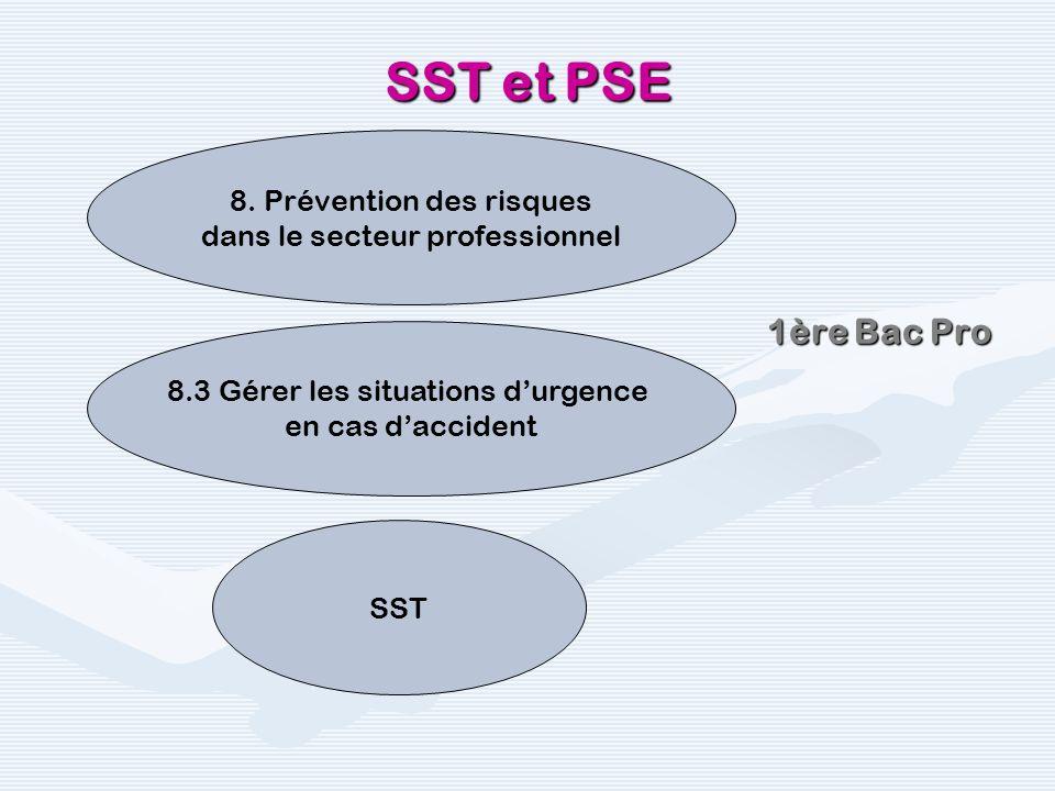 1ère Bac Pro SST et PSE 8.3 Gérer les situations durgence en cas daccident 8. Prévention des risques dans le secteur professionnel SST