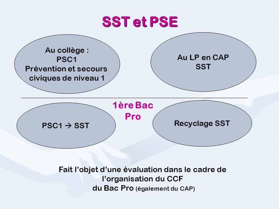 SST et PSE Au collège : PSC1 Prévention et secours civiques de niveau 1 PSC1 SST Au LP en CAP SST Recyclage SST 1ère Bac Pro Fait lobjet dune évaluati