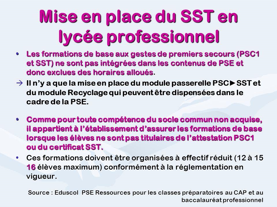 Mise en place du SST en lycée professionnel Les formations de base aux gestes de premiers secours (PSC1 et SST) ne sont pas intégrées dans les contenu